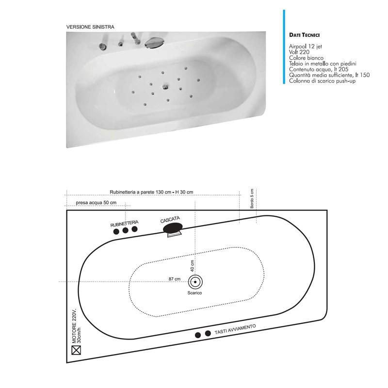 Vendita vascha da bagno JETFUN mod. SAYREN Asimmetrica Online
