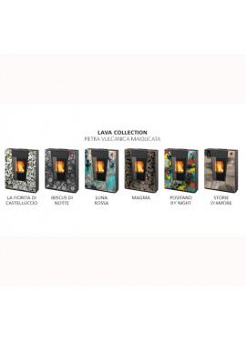 "Stufa a pellet Clam mod. Suez+ ""Lava Collection"" in Pietra Vulcanica Maiolicata"