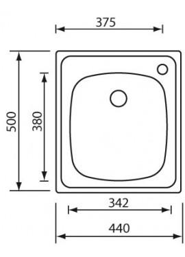 Lavello cinzia acciaio inox 44x50