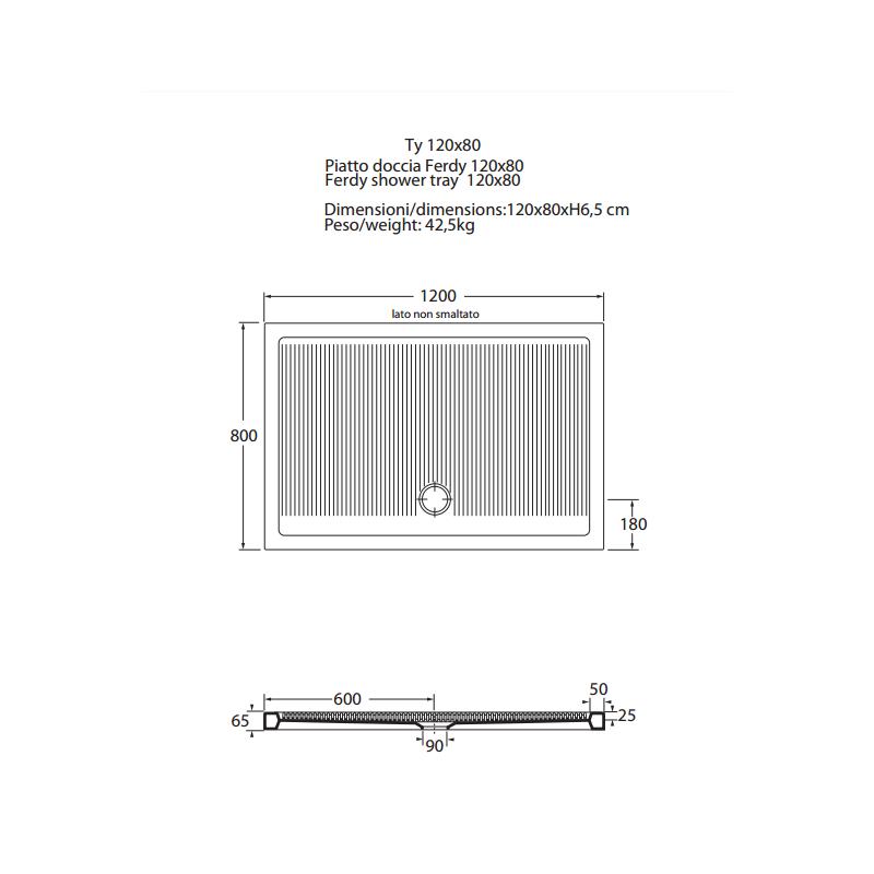 Piatto Doccia Rettangolare Dimensioni.Vendita Piatto Doccia Serie Ferdy Rettangolare Online