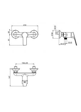 Miscelatore doccia esterno senza set doccia Fima serie 4
